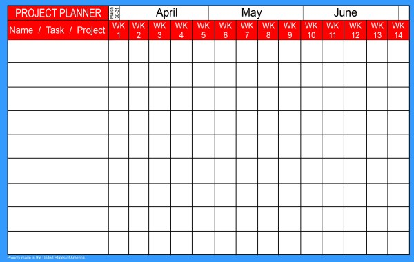 Blank project calendar and planner for virtual learning and homeschool