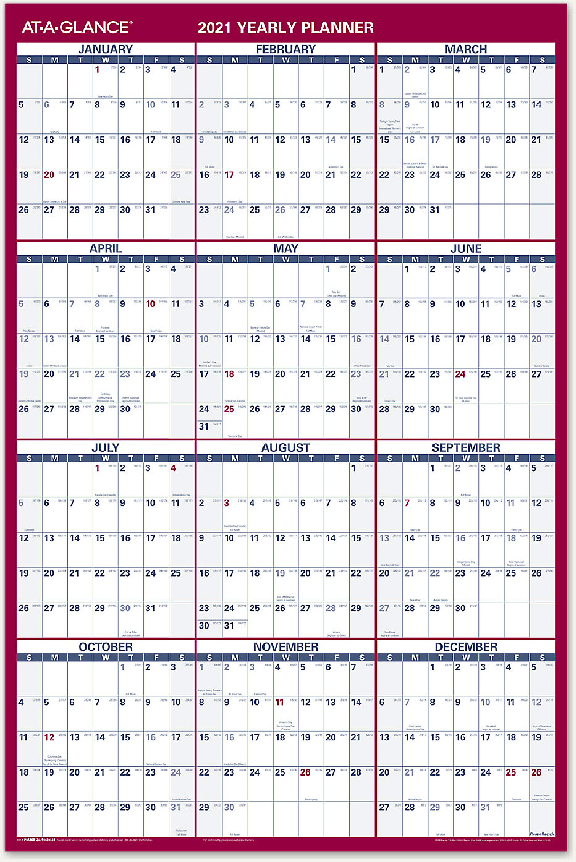 Pictures of Year At A Glance Wall Calendar 2021