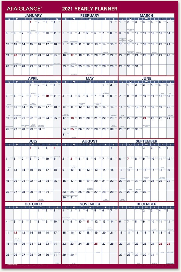 At a glance large wall calendar 2021