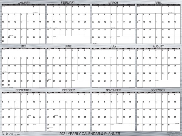 """2021 Wall Calendar, designer metal, is 24"""" x 36"""". Classic designer calendar complements home office decor and workspace with modern lines."""