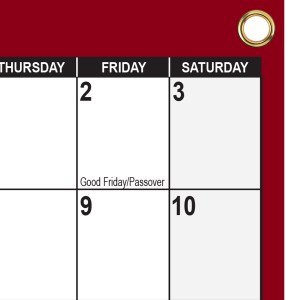 2022 Wall Calendar with grommets Maroon