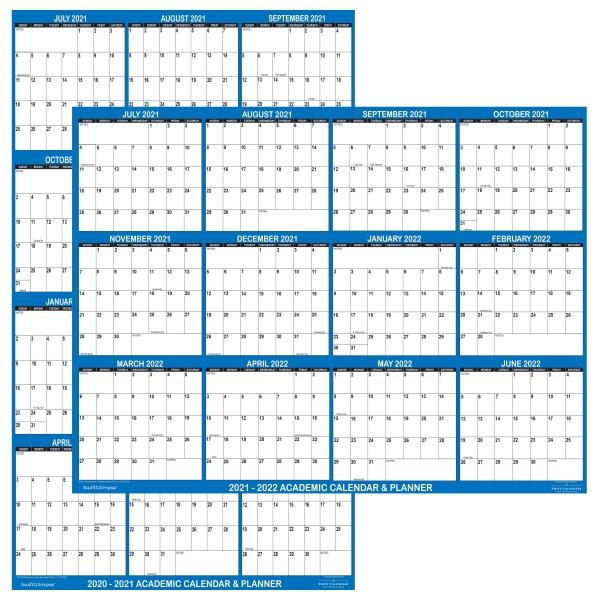 "2021 - 2022 Academic Planning Calendar 18"" x 24"" Navy reversible"