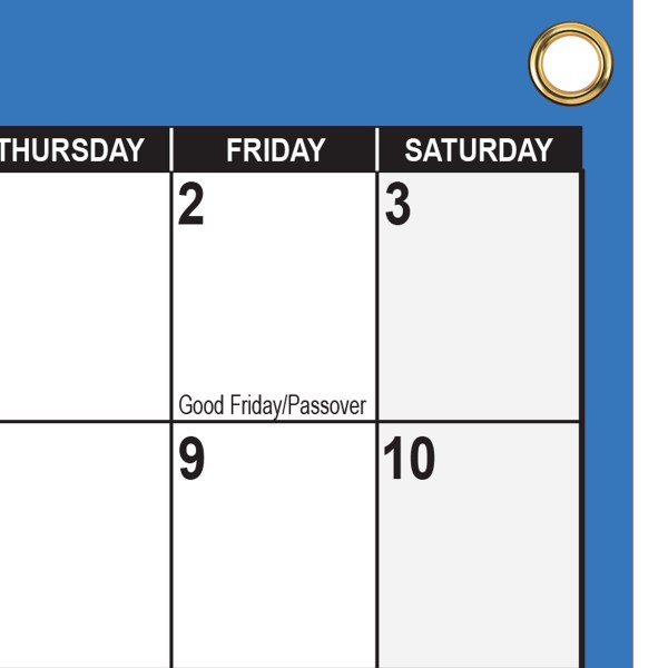 """2021 - 2022 Academic Planning Calendar 18"""" x 24"""" Navy with grommets"""
