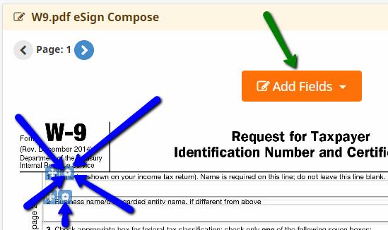 e-signature required field controls