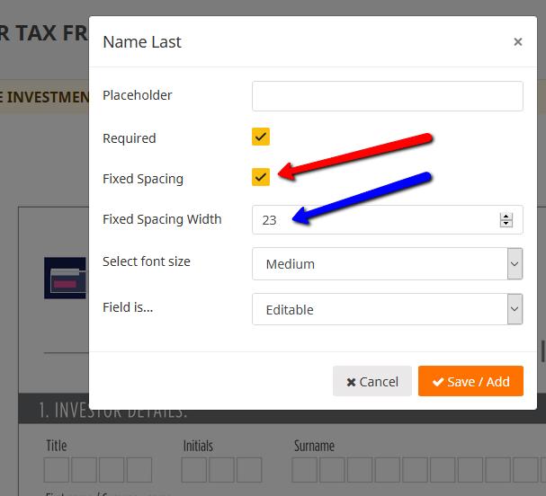PDF esign Fixed width settings