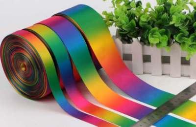 Printed full sublimation ribbon various widths rainbow colours. Multi colour ribbon rolls.