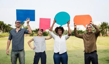 People Holding Speech Bubbles - Get Online Reviews (Focus on Google)