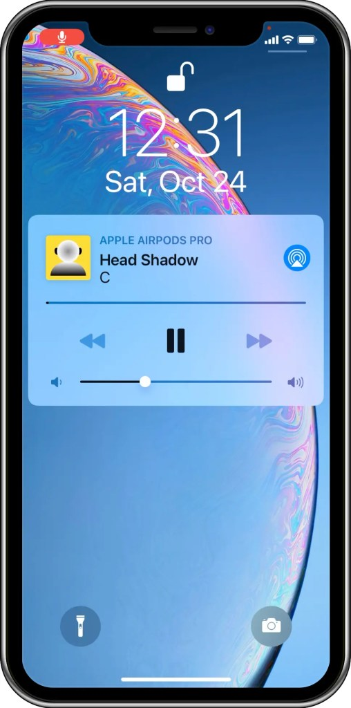 This image shows that the Head Shadow app supports remote control on the Lock Screen and Control Center.  AirPods Pro is the device used for capturing and playing the sound. This is how to turn AirPods into hearing aids for people with single-sided deafness.