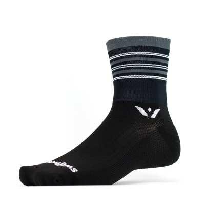 Swiftwick Aspire Four Stripe Black Gray Sock