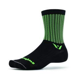 Swiftwick Vision Five Aero Black Green Sock