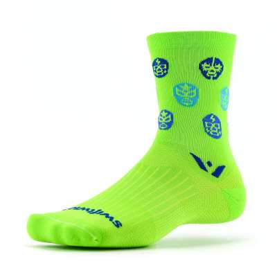 Swiftwick Vision Five Luchador Neon Green Navy Sock