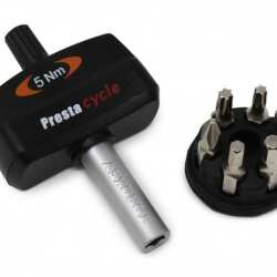 Prestacycle Torque Wrench 5nm TorqKey Mini Preset with 6 Bits & Holder
