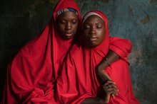 Hassana and Hussaina, 14-year-old twins who were abducted at about the age of 11 and held for two years.