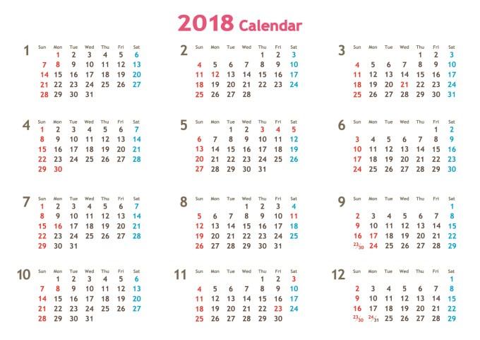 2018年のスケジュール