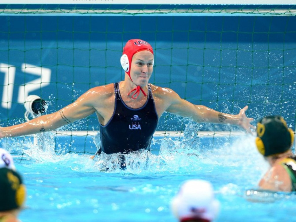 Aug 7, 2012; London, United Kingdom; USA goal keeper Betsey Armstrong (1) allows a goal in the first quarter against Australia in the women's semifinal in the London 2012 Olympic Games at Water Polo Arena. Mandatory Credit: Andrew Weber-USA TODAY Sports