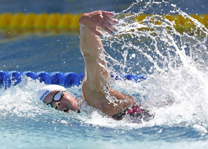 Jun 21, 2015; Santa Clara, CA, USA; Lotte Friis (DK) won the Women's 800M Freestyle 8:25.33 during the Championship Finals of day four at the George F. Haines International Swim Center. Mandatory Credit: Bob Stanton-USA TODAY Sports