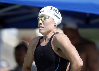 Jun 20, 2015; Santa Clara, CA, USA; Natalie Coughlin (USA) before the start of her prelim heat of the Women 50M Freestyle during the morning session of Day3 at the George F. Haines International Swim Center in Santa Clara, Calif. Mandatory Credit: Bob Stanton-USA TODAY Sports