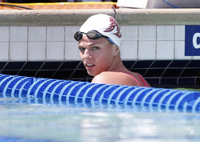 Jun 20, 2015; Santa Clara, CA, USA; Yulia Efimova (RUS) checks her time after completing the final qualifying heat of the Women 200M Breaststroke during the morning session at the George F. Haines International Swim Center in Santa Clara, Calif. Mandatory Credit: Bob Stanton-USA TODAY Sports