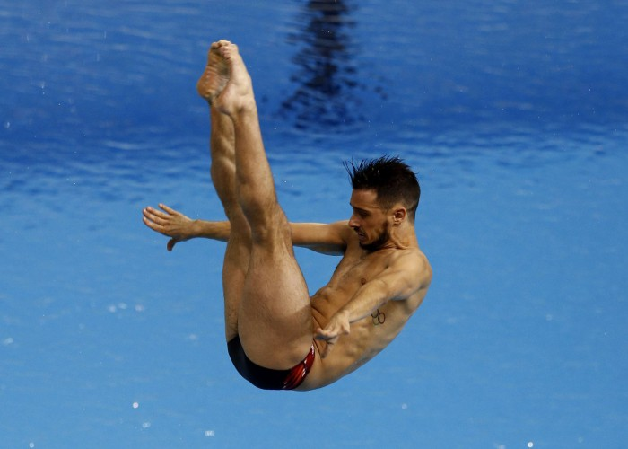 Jul 11, 2015; Toronto, Ontario, CAN; Francois Imbeau-Dulac of Canada competes in the men's 3m springboard final during the 2015 Pan Am Games at Pan Am Aquatics UTS Centre and Field House. Mandatory Credit: Rob Schumacher-USA TODAY Sports
