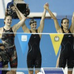 Jul 18, 2015; Toronto, Ontario, CAN; Kelsi Worrell , Katie Meili , Natalie Coughlin and Allison Schmitt of the United States celebrate after winning the women's swimming 4x100m medley final during the 2015 Pan Am Games at Pan Am Aquatics UTS Centre and Field House. Mandatory Credit: Erich Schlegel-USA TODAY Sports