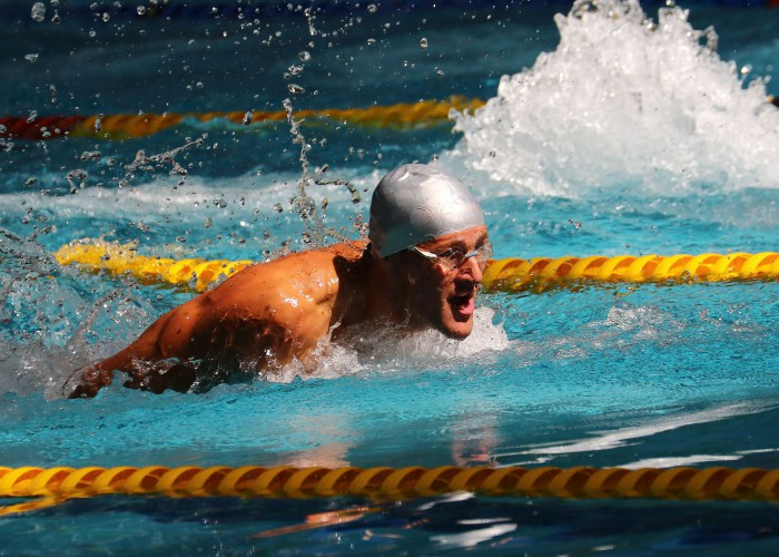 DURBAN, SOUTH AFRICA - APRIL 13:George du Rand during the heats session 100m butterfly for men on day 6 of the SA National Aquatic Championships and Olympic Trials on April 13 , 2016 at the Kings Park Aquatic Center pool in Durban, South Africa. Photo Credit / Anesh Debiky/Swim SA
