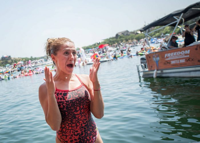 Adriana Jimenez of Mexico reacts after winning the final competition day of the first stop at the Red Bull Cliff Diving World Series in Possum Kingdom Lake, Texas, USA on June 2, 2018. // Romina Amato/Red Bull Content Pool // AP-1VUX9YQK52111 // Usage for editorial use only // Please go to www.redbullcontentpool.com for further information. //