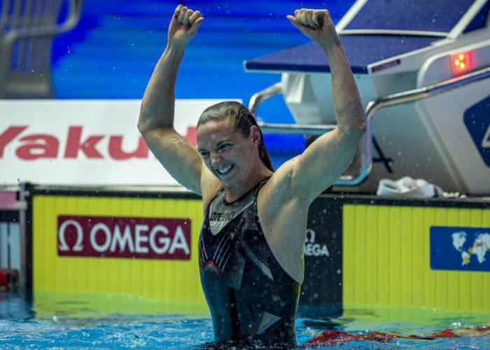 400 IM Katinka Hosszu of Hungary celebrates after winning in the women's 400m Individual Medley (IM) Final during the Swimming events at the Gwangju 2019 FINA World Championships, Gwangju, South Korea, 28 July 2019.