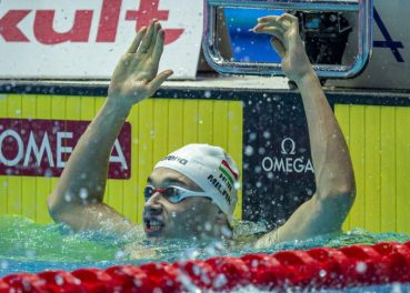 Kristof Milak of Hungary celebrates after winning in the men's 200m Butterfly Final during the Swimming events at the Gwangju 2019 FINA World Championships, Gwangju, South Korea, 24 July 2019.
