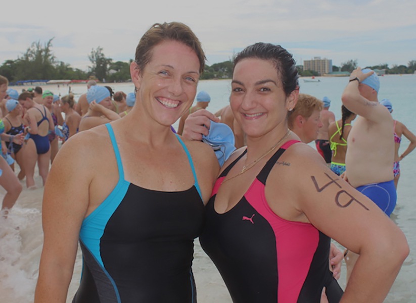 Two Barbados Open Water Competitors