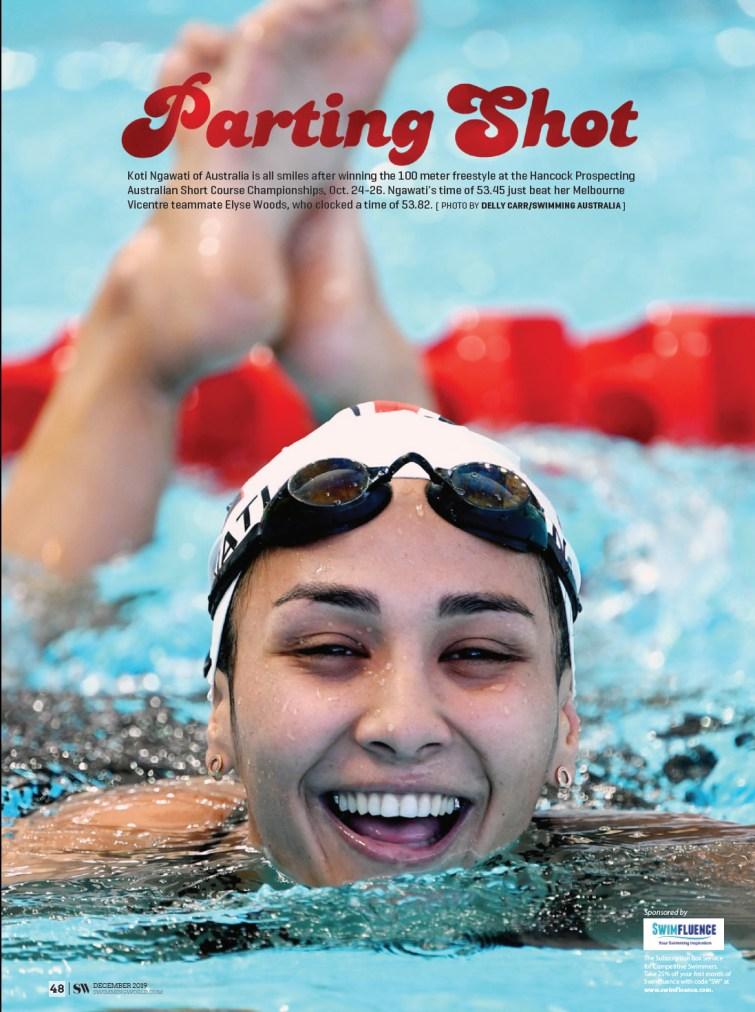 Swimming World Magazine - Parting Shot December 2019 Koti Nagwati