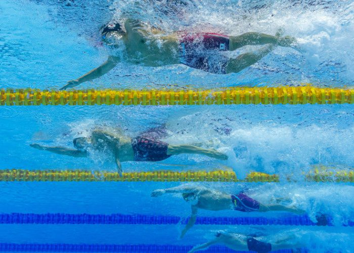 (From top) Daiya Seto of Japan, Jeremy Desplanches of Switzerland and Mitchell Larkin of Australia compete in the men's 200m Individual Medley (IM) Semifinal during the Swimming events at the Gwangju 2019 FINA World Championships, Gwangju, South Korea, 24 July 2019.