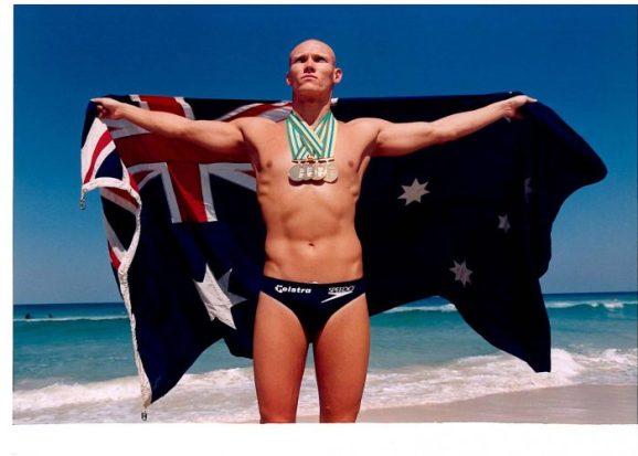 Michael Klim with medals 1998 Worlds
