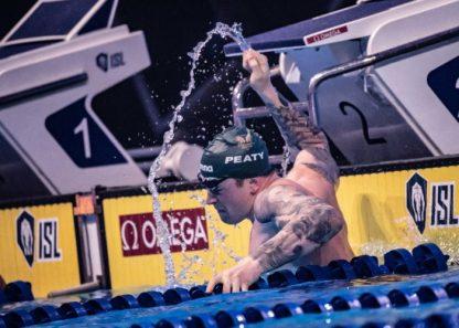 Adam Peaty sets world record 100 breaststroke ISL final Budapest, Hungary (photo: Mike Lewis)