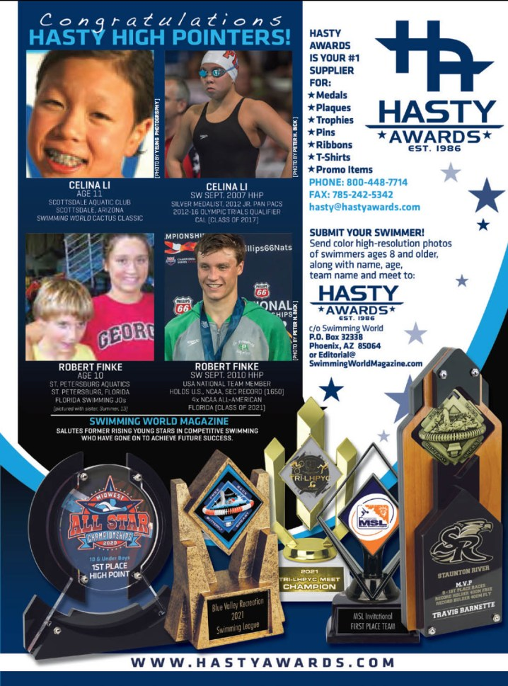 Swimming World March 2021 - Hasty High Pointers - Hasty Awards - Celina Li and Robert Finke - full page