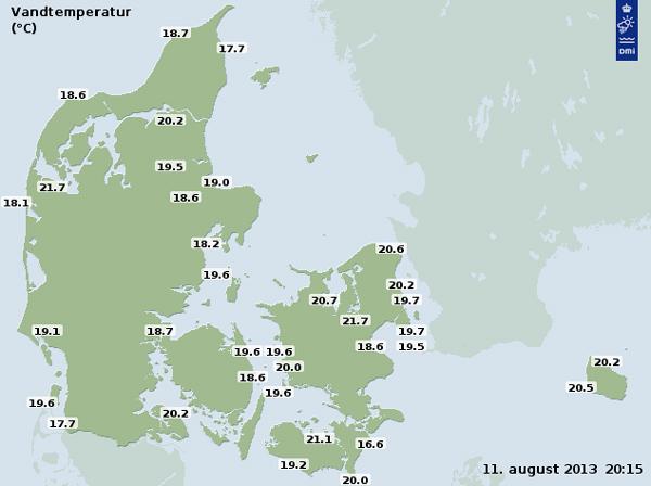 Vandtemperaturer i og omkirng Danmark 11. august 2013