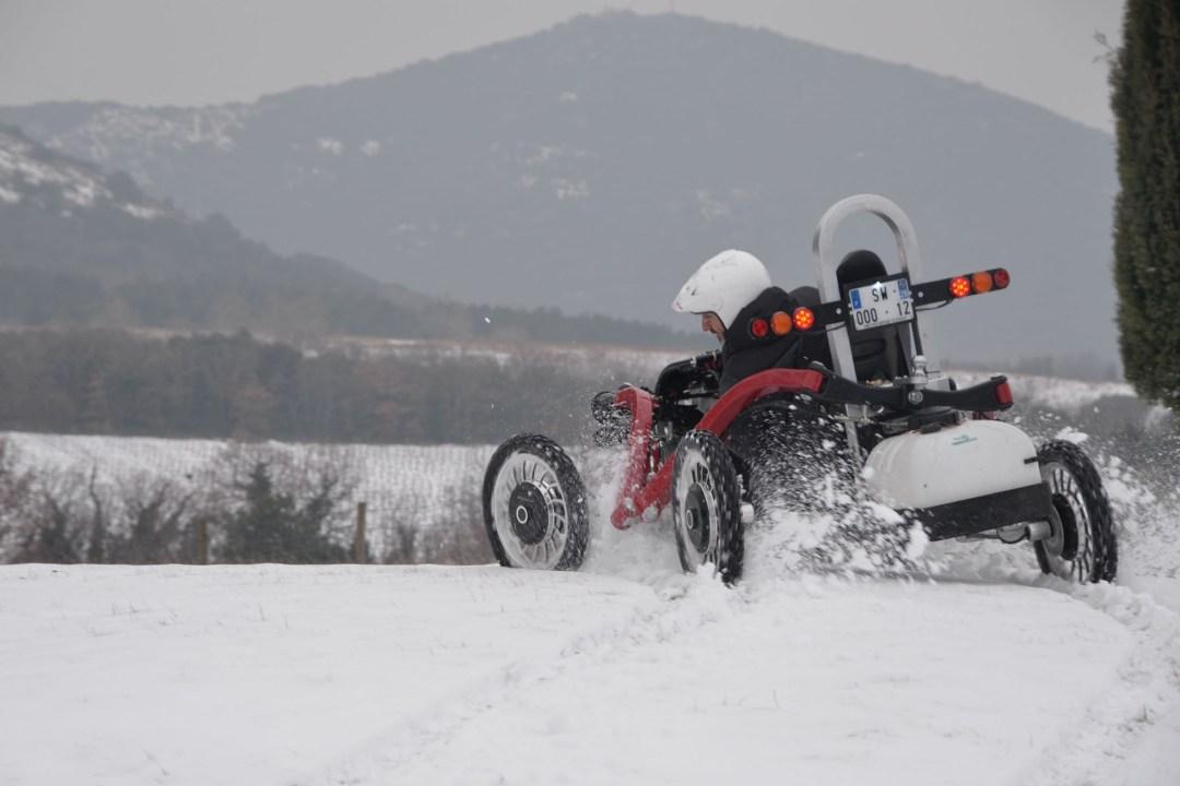 swincar in the snow