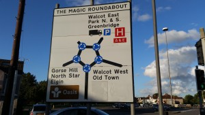 Swindon magic roundabout road sign