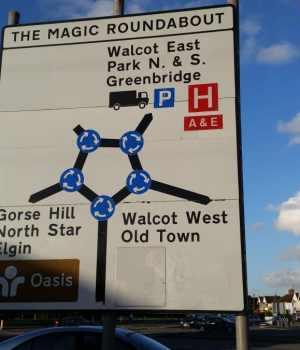 Swindon magic roundabout road sign