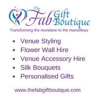 The Fab Gift Boutique for venue styling and personalised gifts