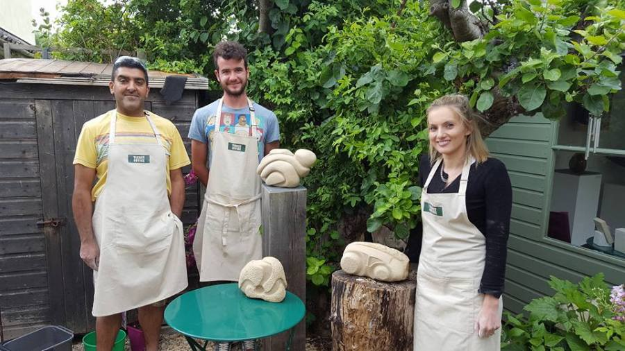 Proud stone carving students June 2017