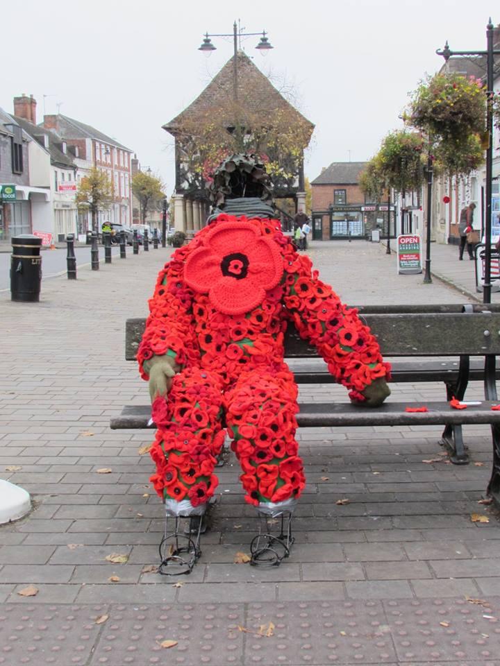 Poppy man in situ in Wootton Bassett daytime