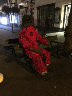 Poppy man in situ in Wootton Bassett