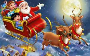 happy christmas santa clause and sleigh