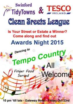 2015 swinford clean street league awards night poster