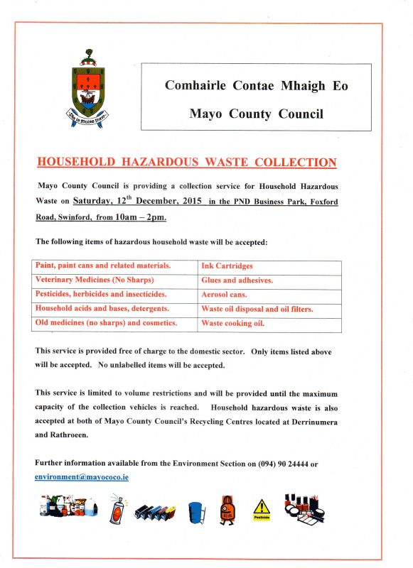 household hazardous waste collection in Swinford December 2015