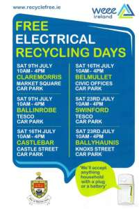 Free WEEE Electrical Collection Swinford July 2016
