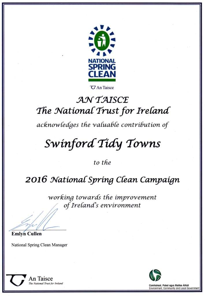 2016 national spring clean certificate for Swinford