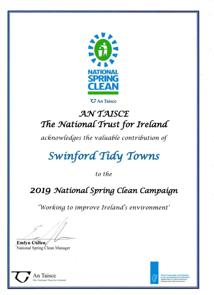 2019 Swinford tidy towns national spring clean certificate