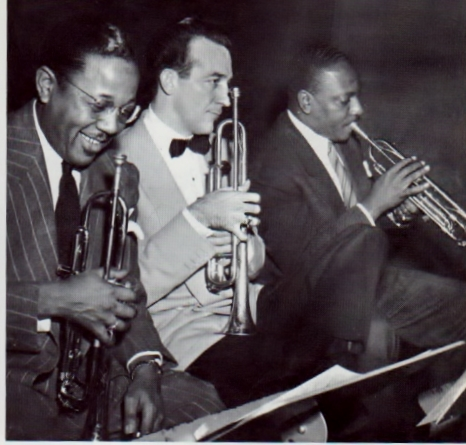 L-R: Roy and trumpet peers Harry James and Cootie Williams - at the Metronome All-Star recording session December 31, 1941.