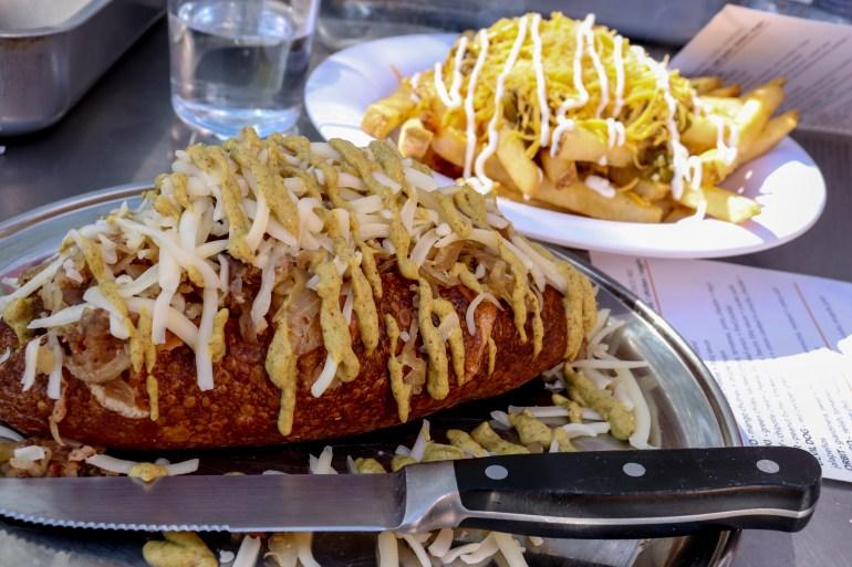 bratwurst stuffed pretzel Short Leash Hot Dogs